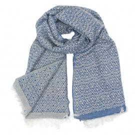 Zimowy damski szalik w romby - niebieski/beż