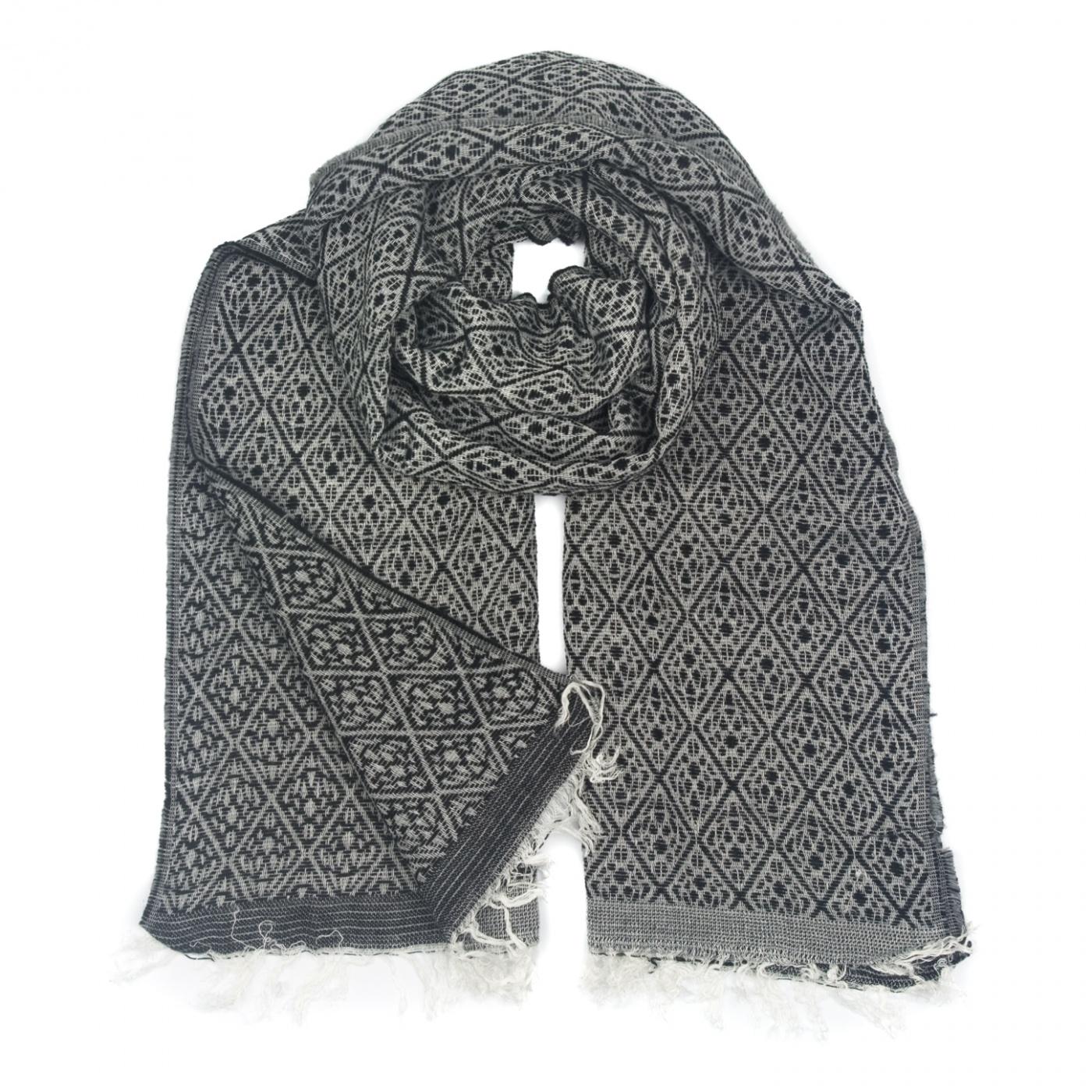 Zimowy damski szalik w romby - czarno-szary