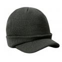 Męska czapka zimowa z daszkiem fullcap – szara grafitowa z wywinięciem