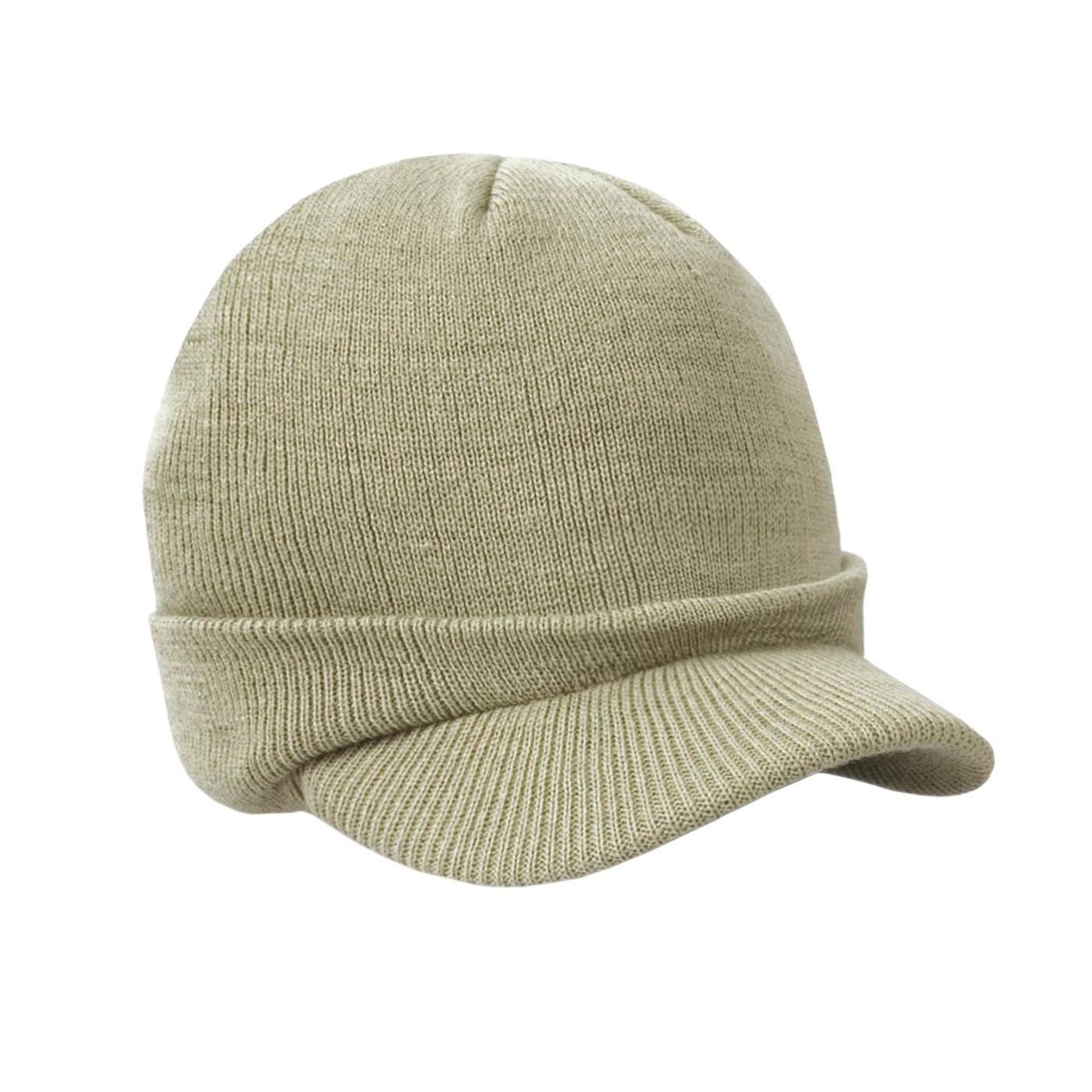 Męska czapka zimowa z daszkiem fullcap – beżowa khaki z wywinięciem