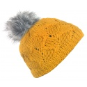 Czapka damska na polarze z pomponem - musztardowa żółta