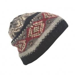 Męska czapka zimowa norweskie wzory - czarna