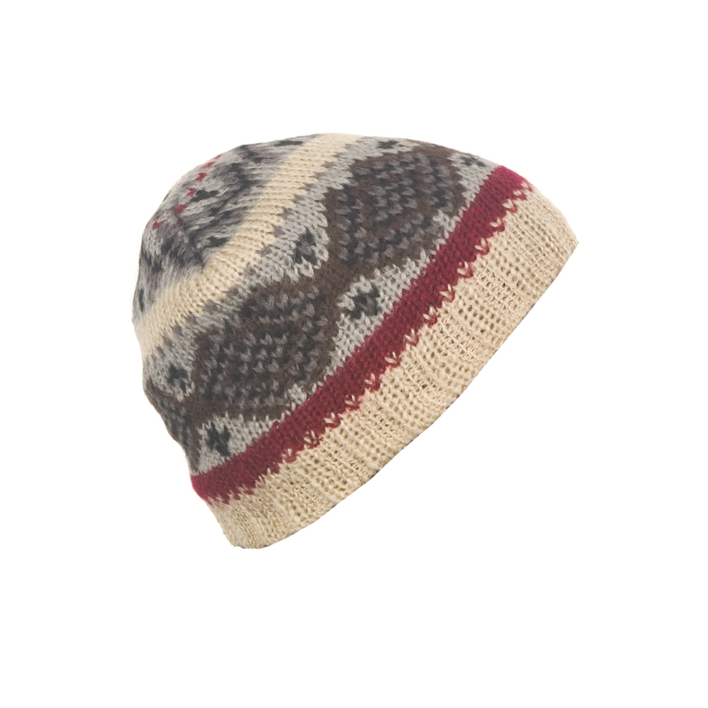 Męska czapka zimowa norweskie wzory - beżowa