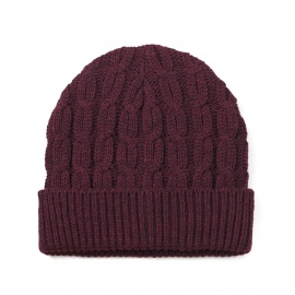Męska czapka zimowa z wywinięciem – bordowa