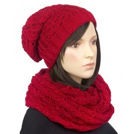 Komplet zimowy Tola czapka damska i szalik komin - czerwony