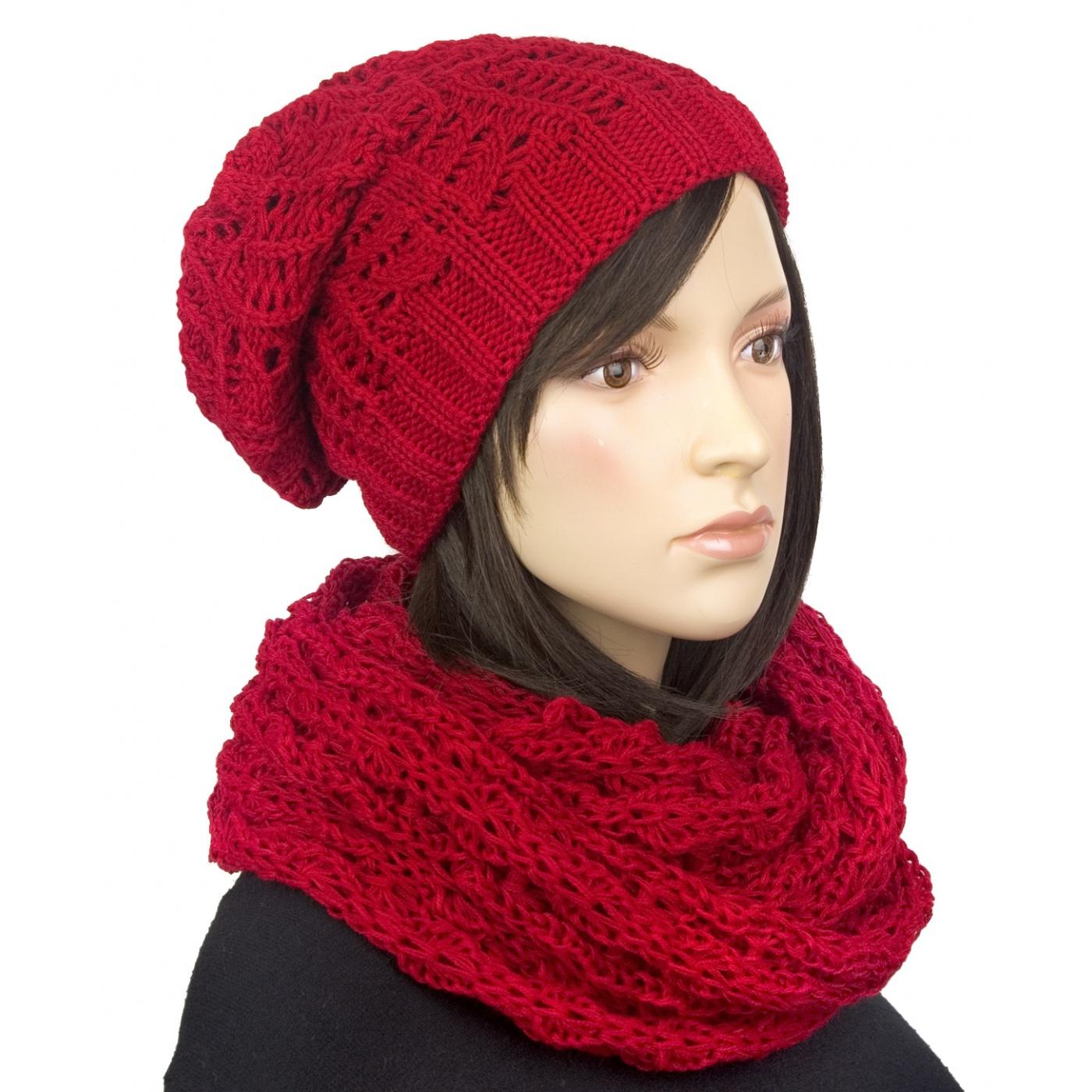 Komplet: damska czapka zimowa krasnal i szalik komin: czerwony