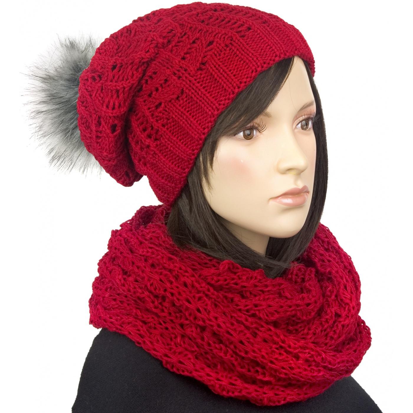 Komplet damska czapka zimowa z pomponem i szalik komin : bordowy