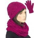 Komplet krótka czapka, szalik komin i rękawiczki : amarantowy