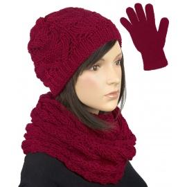 Komplet krótka czapka, szalik komin i rękawiczki : bordowy