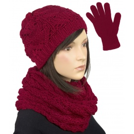 Komplet zimowy damski Hela czapka, szalik komin i rękawiczki - bordowy