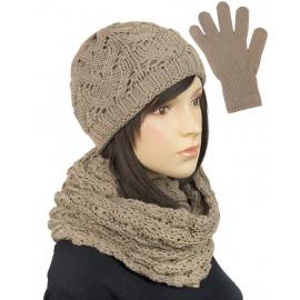 Komplet krótka czapka, szalik komin i rękawiczki : cappuccino