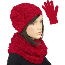 Komplet krótka czapka, szalik komin i rękawiczki : czerwony