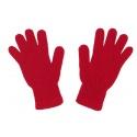 Komplet - krótka czapka z pomponem, komin i rękawiczki : czerwony