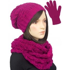 Damski komplet czapka zimowa krasnal, szalik komin i rękawiczki : amarantowy