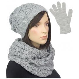 Damski komplet czapka zimowa krasnal, szalik komin i rękawiczki : jasnoszary