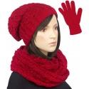 Damski komplet czapka zimowa krasnal, szalik komin i rękawiczki : czerwony