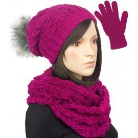 Komplet damski zimowy Tola czapka z pomponem, komin i rękawiczki - amarantowy różowy