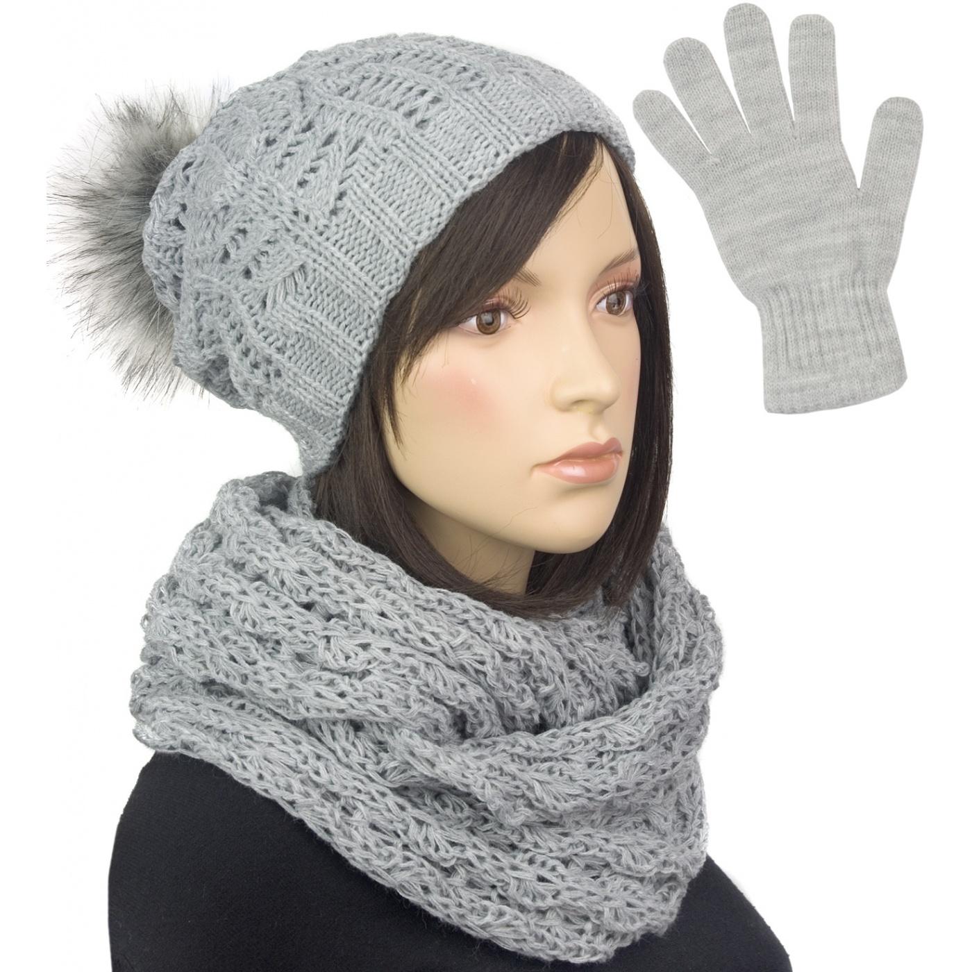 Damski komplet czapka krasnal z pomponem, szalik komin i rękawiczki : szary