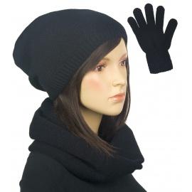 Komplet zimowy damski Kaja czapka, komin i rękawiczki - czarny