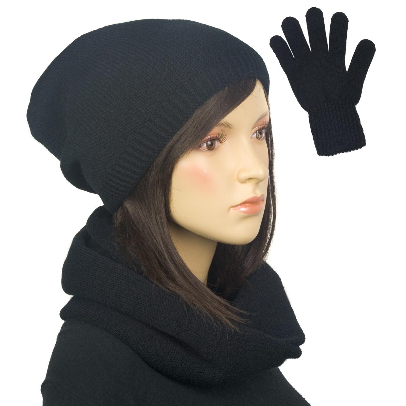 Komplet zimowy damski czapka, komin i rękawiczki - czarny