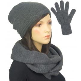 Komplet zimowy damski Kaja czapka, komin i rękawiczki - ciemny szary