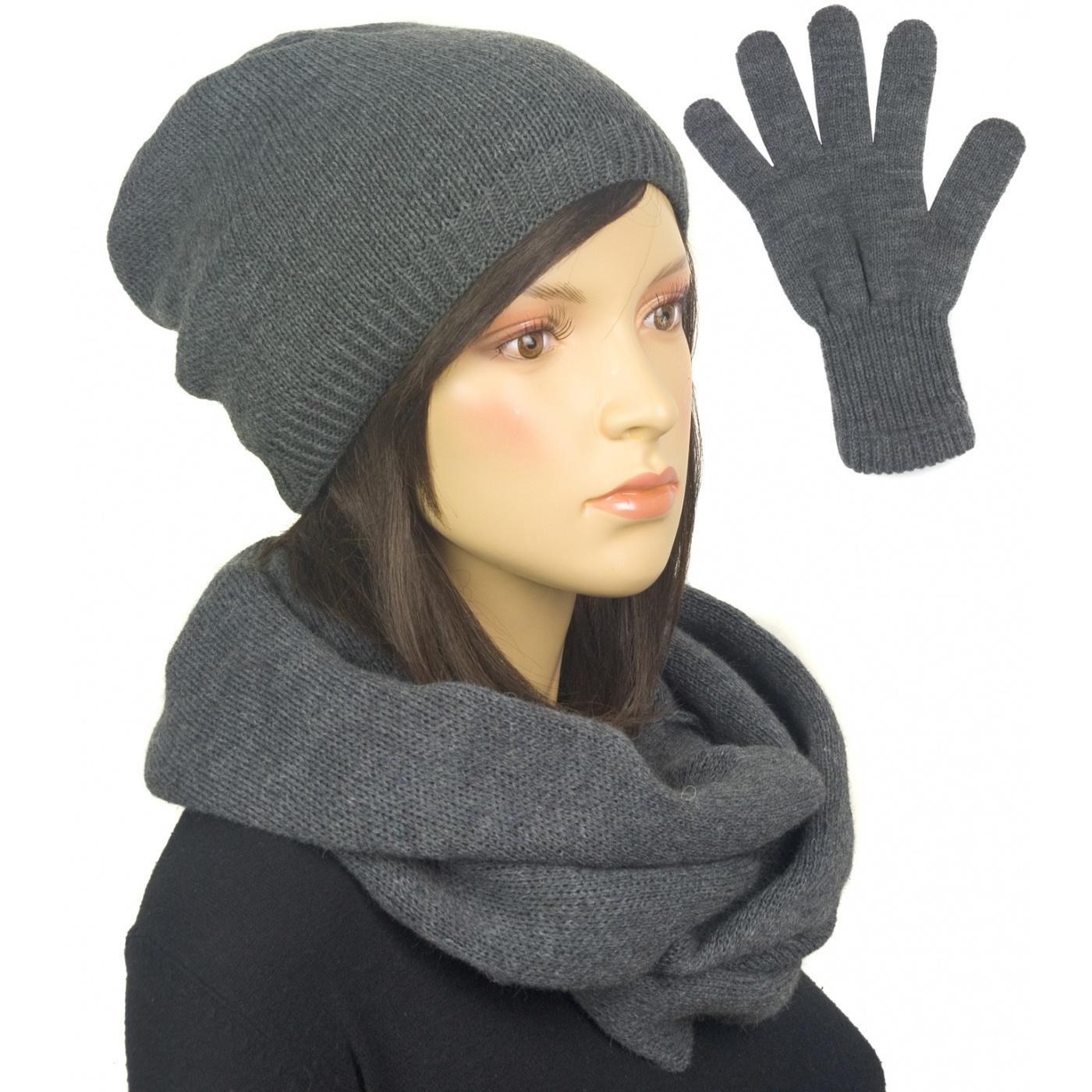 Komplet zimowy damski czapka, komin i rękawiczki - grafitowy
