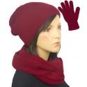Komplet zimowy damski czapka, komin i rękawiczki - bordowy
