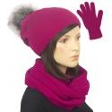 Komplet damski na zimę czapka z pomponem, komin i rękawiczki - amarant