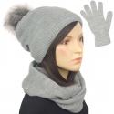 Komplet damski na zimę czapka z pomponem, komin i rękawiczki - popielaty