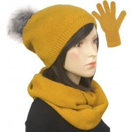 Komplet zimowy damski Kaja czapka z pomponem, komin i rękawiczki - żółty musztardowy