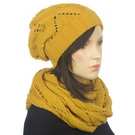 Komplet czapka zimowa damska i szalik komin Mery - musztardowy żółty