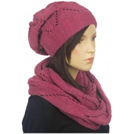 Komplet czapka zimowa damska i szalik komin Mery - brudny różowy