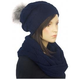 Komplet czapka zimowa damska z pomponem i szalik komin Mery - granatowy