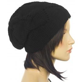 Ażurowa czapka zimowa damska Mery – czarna