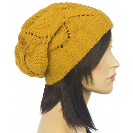 Ażurowa czapka zimowa – musztardowa żółta
