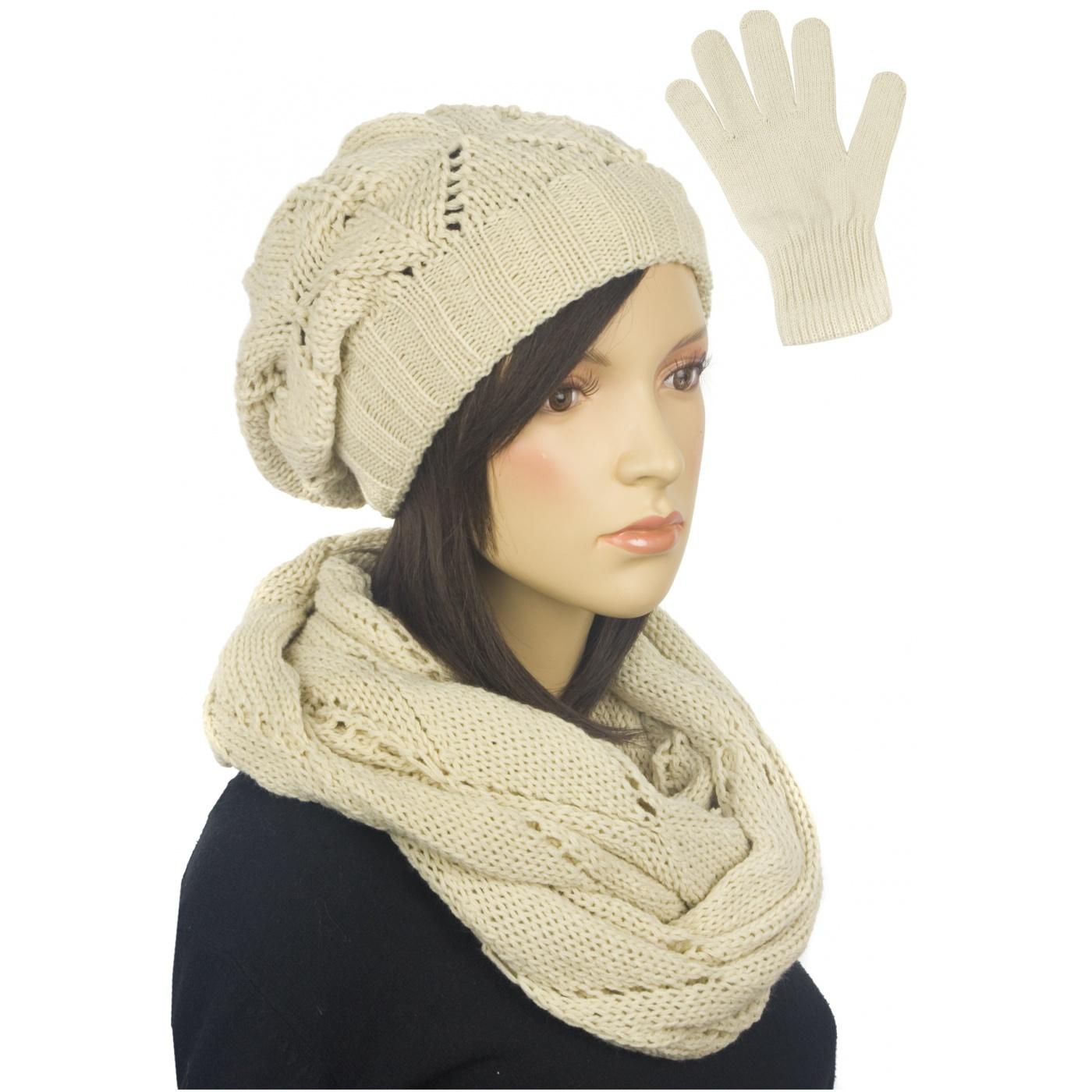 Ażurowy komplet damski czapka, komin, rękawiczki - beżowy