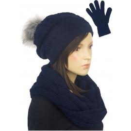 Zimowy komplet damski Mery czapka z pomponem, komin, rękawiczki - granatowy