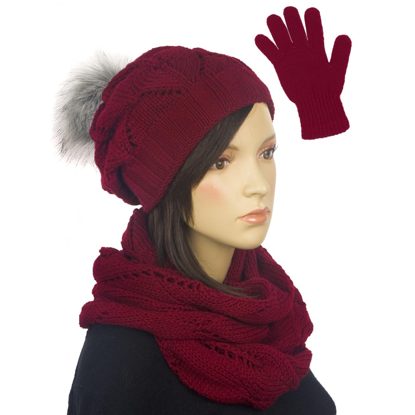 Ażurowy komplet czapka z pomponem, komin, rękawiczki - bordowy