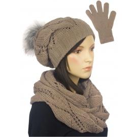 Zimowy komplet damski Mery czapka z pomponem, komin, rękawiczki - cappuccino beżowy