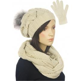 Zimowy komplet damski Mery czapka z pomponem, komin, rękawiczki - beżowy