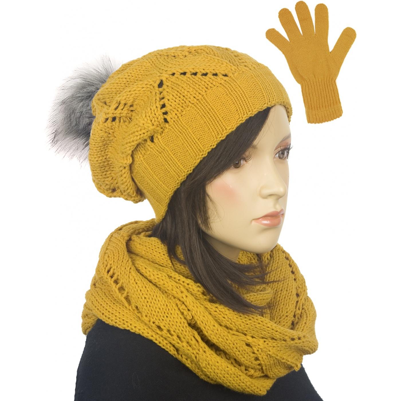 Ażurowy komplet czapka z pomponem, komin, rękawiczki - żółty