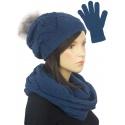Ażurowy komplet czapka z pomponem, komin, rękawiczki - jeansowy niebieski