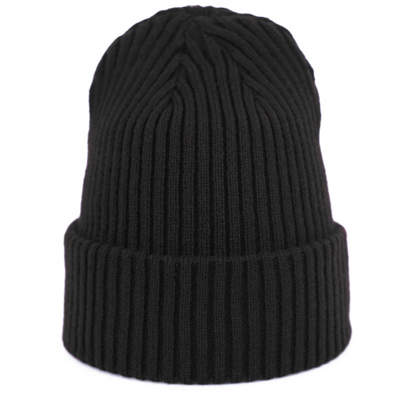 Czapka zimowa damska w prążki - czarna
