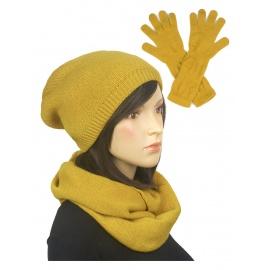 Komplet zimowy damski czapka, komin i rękawiczki - musztardowy