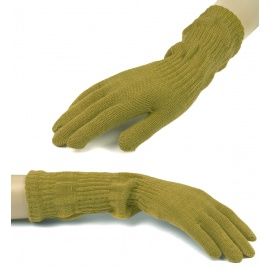 Damskie długie rękawiczki - jasne oliwkowe