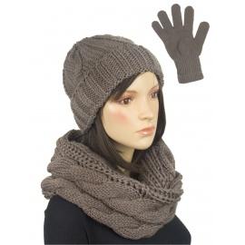 Komplet w warkocze czapka, komin, rękawiczki : beżowy