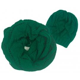 Ażurowy komplet zimowy damski - zielony