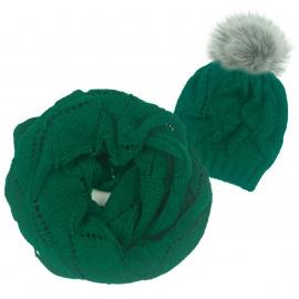 Komplet czapka zimowa damska z pomponem i szalik komin Mery - zielony