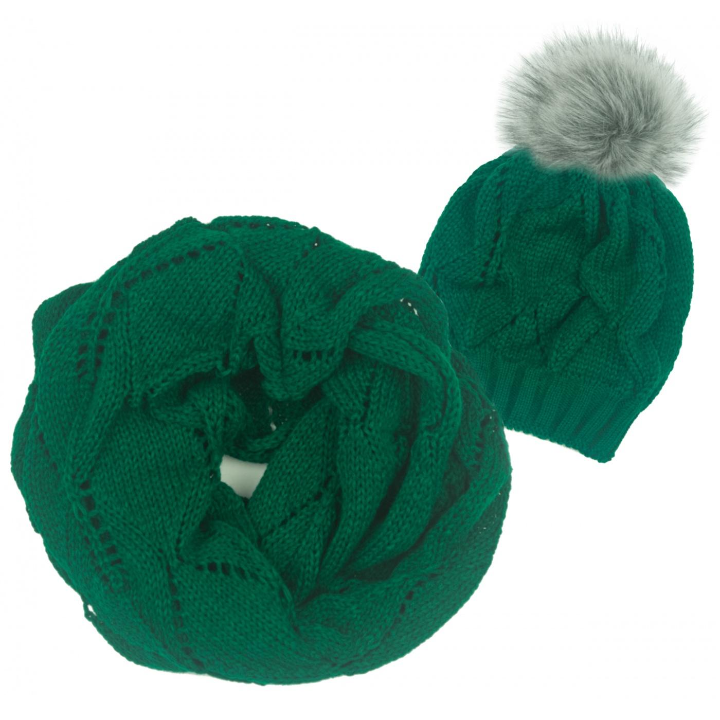 Ażurowy komplet czapka z pomponem i komin - zielony