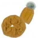 Czapka z pomponem i szalik komin: musztardowy